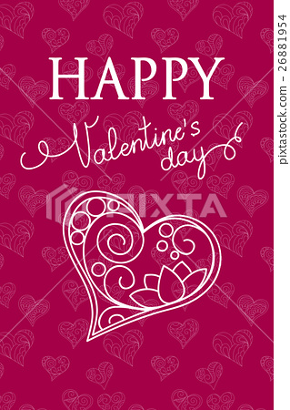 Violet Valentine Card With Heart 插圖素材 26881954 Pixta圖庫