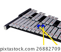 Xylophone with mallets on isolated  26882709