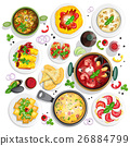 Collection of italian food top view iluustrations 26884799