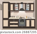 Vector kitchen interior card flat illustration 26887205