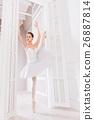 Graceful ballet dancer standing on one leg 26887814