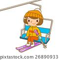 滑雪纜車 舉起 滑雪 26890933