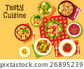 Salad dishes top view icon for healthy menu design 26895239