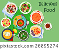 Greek cuisine soup and salad lunch dishes icon 26895274