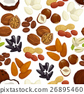 Nut, bean, seed, grain seamless pattern background 26895460