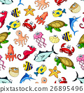 Sea, ocean animals, fish seamless cartoon pattern 26895496