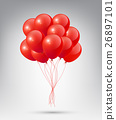 Flying Realistic Glossy Red Balloons 26897101