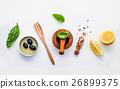 Sweet basil vinaigrette dressing ingredients . 26899375