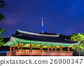 Namsangol Hannok Village and Seoul Tower in korea. 26900347