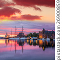 Bergen harbor with boats against sunset in Norway 26900859