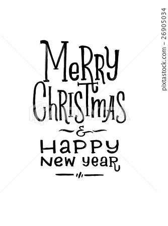 Merry Christmas Happy New Year Retro Vector Poster - Stock ...