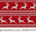 Red knitted sweater with deer seamless pattern 26905456