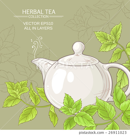 peppermint tea in teapot 26911023