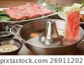 涮涮锅 牛肉 锅里煮好的食物 26911202