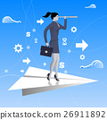 Flying on paper plane business concept 26911892