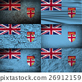 Set of six flags Fiji with old texture. Vector 26912159