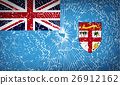 Flags Fiji with broken glass texture. Vector 26912162