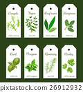 Cooking herbs tags. Cute label set 26912932