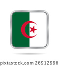 flag of Algeria, shiny metallic gray square button 26912996