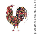 Illustration rooster inspired zentangle style. 26913244