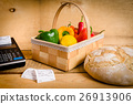 vegetables on the table with a cash register 26913906