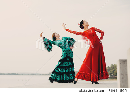 womans dancer wearing red dress 26914696