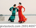 Two dancers flamenco in traditional Spanish dress 26914697