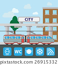 Train station building icon in the flat style 26915332