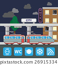 Train station building icon in the flat style 26915334