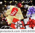 Boxing day design wooden background 26916099