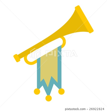 Trumpet with flag icon, flat style 26922824