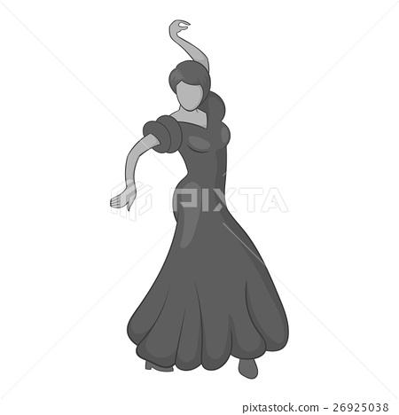 Girl dancing flamenco icon, gray monochrome style 26925038