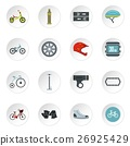 Bicycling icons set, flat style 26925429