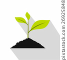 Green seedling in soil pile icon, flat style 26925848