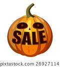 Pumpkin with word sale icon, cartoon style 26927114