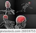 3d render illustration of human brain X ray 26939755