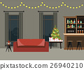 Decorated room interior with christmas tree. 26940210