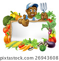 Cartoon Black Gardener Vegetables Sign 26943608
