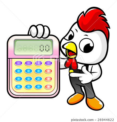 Chicken Character is holding a calculator 26944622