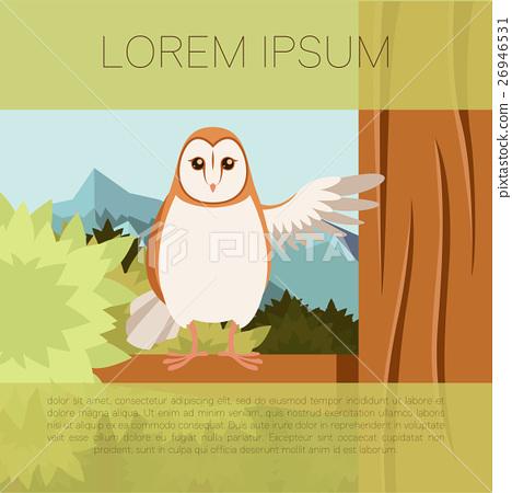 Screech-Owl on the flat tree background 26946531