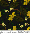 Pattern with tropical plants, flowers and citron 26946845