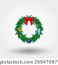Christmas wreath. Flat. 26947087