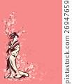 spring season background with Japanese geisha 26947659