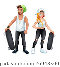 Skaters boy and girl 26948500