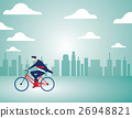 Businessman riding a bicycle on city background 26948821