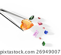 Collection of gemstones. 3D illustration 26949007