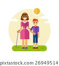 Boy helping blind woman 26949514