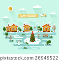 Happy holidays cartoon village 26949522