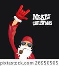 vector biker santa claus with smoking pipe. 26950505