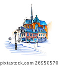 City view of house, church and lantern, Utrecht 26950570